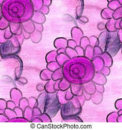 flower pattern texture watercolor handmade seamless texture...
