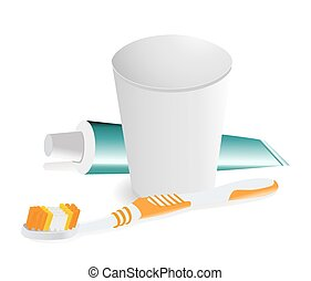 dental hygiene objects on white