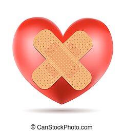 heart symbol with adhesive bandage on white