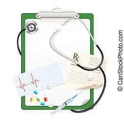 stethoscope on green clipboard with white blank paper, medical pills, syringe, cardiogram