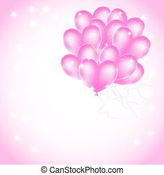 pink heart balloons with stars background