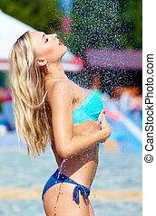 doccia, estate, ragazza, godere, seducente
