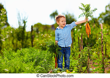 young boy with carrot enjoying life in countryside