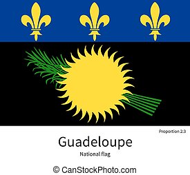 National flag of Guadeloupe with correct proportions,...
