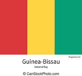 National flag of Guinea-Bissau with correct proportions,...