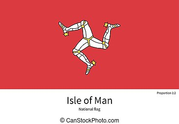 National flag Isle of Man with correct proportions, element,...