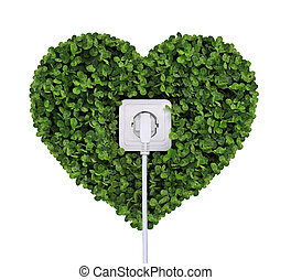 electric power receptacle on a green grass background...
