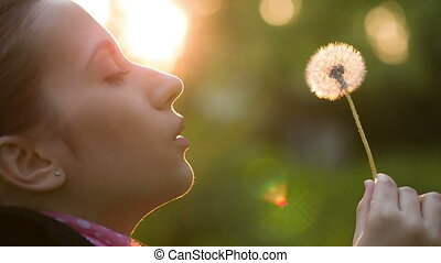 Woman Blowing on a Dandelion - Woman blowing dandelion seeds...
