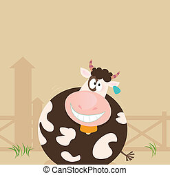 Farm animals: Cow - Farm scene with cow. Vector cartoon...