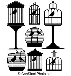 Birdcage - Abstract contour image of a bird in a cage The...