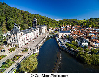 Aerial view of Benedictine Abbey of Brantome river Dronne...