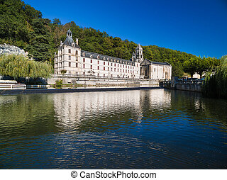 Benedictine Abbey of Brantome and river Dronne, France.