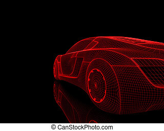 rendering isolated car - Classic sports car Isolated, 3D...