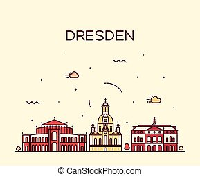 Dresden skyline vector illustration linear style