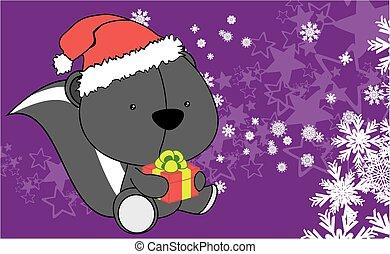 baby skunk cartoon xmas background in vector format very...