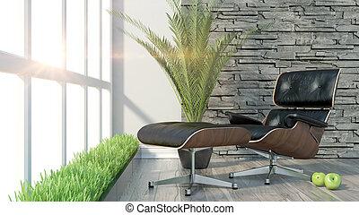Render modern interior - 3D rendering modern interior with...