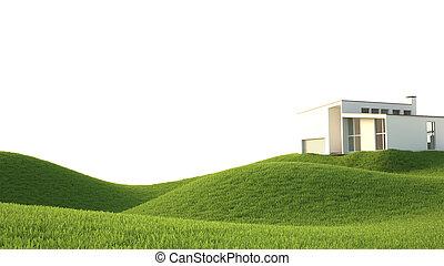 green grass field , ideal landscape 3D render