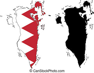 Bahrain - vector precise map and flag of Bahrain with white...