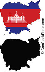 Cambodia - vector map and flag of Cambodia with white...