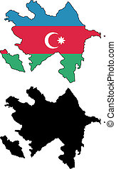 Azerbaijan - vector precise map and flag of Azerbaijan with...