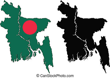 bangladesh - vector map and flag of Bangladesh with white...