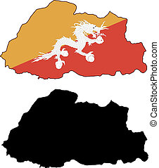 bhutan - vector precise map and flag of bhutan with white...