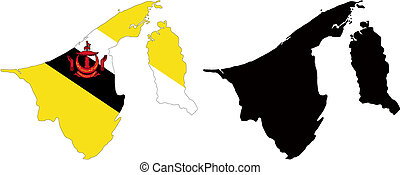 brunei - vector map and flag of Brunei with white...