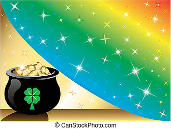 Pot Gold Rainbow Background