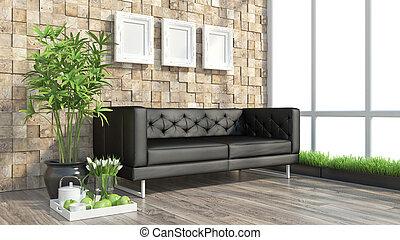 Render modern interior with sofa