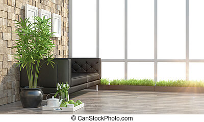 Render modern interior with sofa - 3D rendering modern...