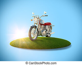 Motorcycle on a flying island - Conceptual image of a...