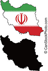 Iran - vector map and flag of Iran with white background.