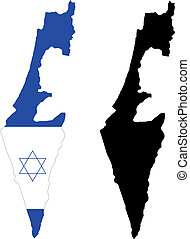 Israel - vector map and flag of Israel with white background...