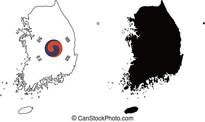 Korea - vector map and flag of Korea with white background.