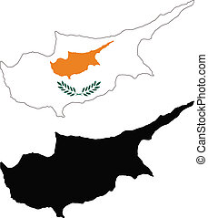 Cyprus - vector map and flag of Cyprus with white...