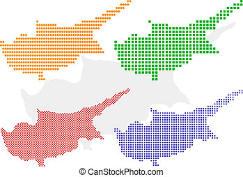 Cyprus - Layered vector pixel map of Cyprus