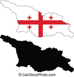 Georgia - vector map and flag of Georgia with white...