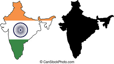 india - vector map and flag of India with white background