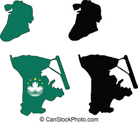 macau - vector map and flag of Macau with white background....
