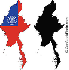 myanmar - vector map and flag of Myanmar with white...
