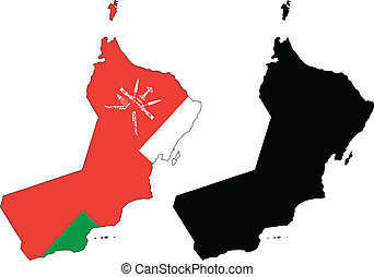 oman - vector map and flag of Oman with white background.