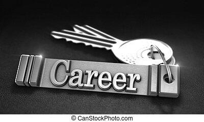 Career Concept - Carrer Concept. Keys with Keyring. 3D...
