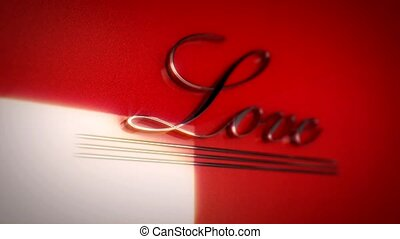 The word love written in retro style 3D rendering