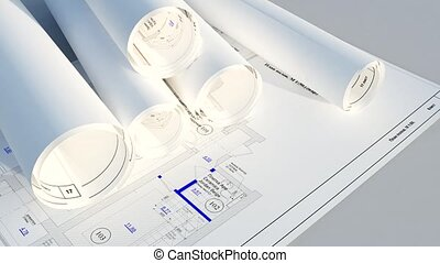 architectural blueprints - camera fly on architectural...