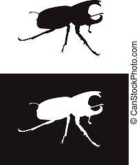 Vector silhouette rhinoceros beetle