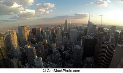 Manhattan Skyline View at Dusk from the Top of the Rock in...