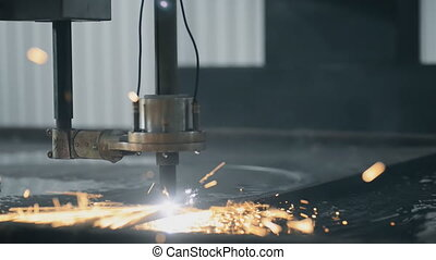 Beautiful Industrial laser plasma cutting angle processing...