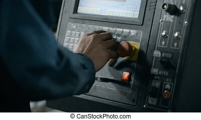 the operator sets the program manufacture technology of flat...