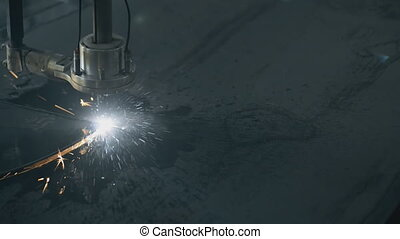 Industrial laser plasma cutting angle processing manufacture technology of flat sheet metal steel material with sparks