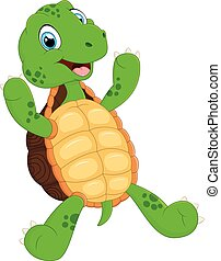 cute green waving turtle - vector illustration of cute green...